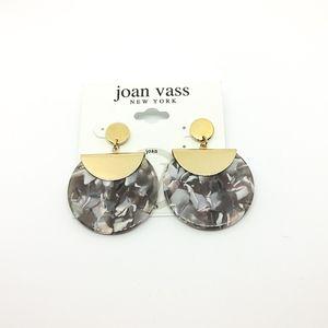 NWT Joan Vass acrylic circular dropped earrings